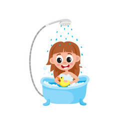 cartoon girl kid washing in bathtub vector image