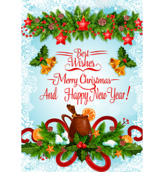 Christmas and new year poster with xmas garland vector