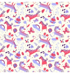 cute seamless pattern with magic unicorns vector image