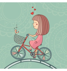 Enamored girl on bicycle vector image vector image