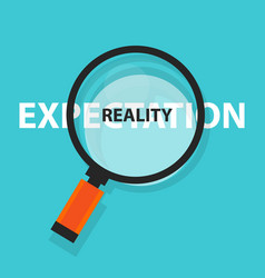 Expectation vs reality concept business analysis vector