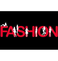 Fashion background with women silhouettes vector image