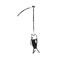 fishing rod and fish fresh food image vector image vector image