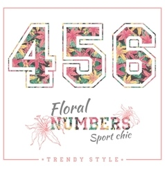 Floral numbers for t-shirts posters card vector
