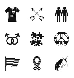 Gays and lesbians icons set simple style vector