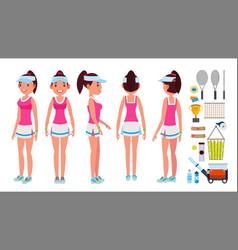 Girl tennis player sport uniform players vector