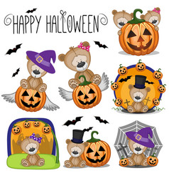 halloween set with cartoon teddy bear vector image vector image