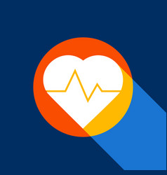 Heartbeat sign white icon on vector