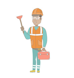 Hispanic plumber holding plunger and tool box vector