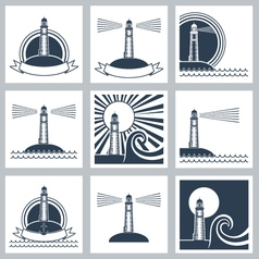 Lighthouse icons vector image vector image