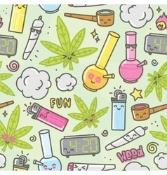 Marijuana kawaii cartoon seamless vector image