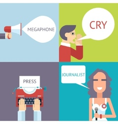 Mass media symbol megaphone speech bubble cry man vector