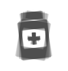 Medical container sign gray icon shaked vector