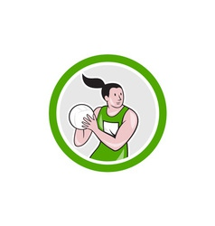 Netball player catching ball circle cartoon vector