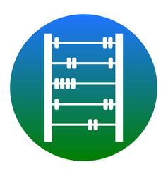 Retro abacus sign white icon in bluish vector
