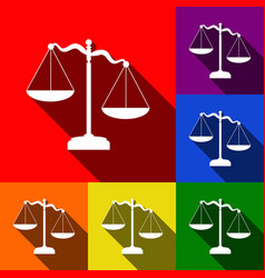 Scales of justice sign set of icons with vector
