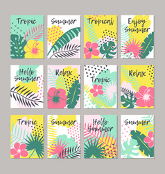 set of creative universal floral cards in tropical vector image