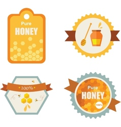 Set of honey and bee labels product icons vector