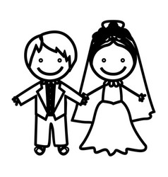 sketch silhouette married couple icon vector image vector image