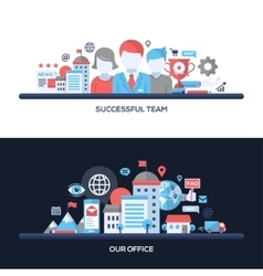 Successful team our office flat design concept vector