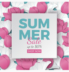 Summer sale banner with paper frame and flowers vector