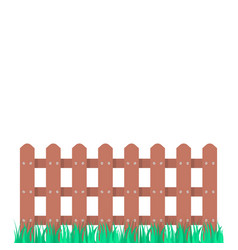 wooden fence garden with green grass vector image