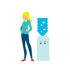 Young woman near office water cooler vector