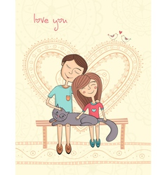 girl and boy with cat vector image