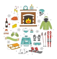 Winter activity icons vector