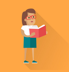Reading book human icon in flat style design vector