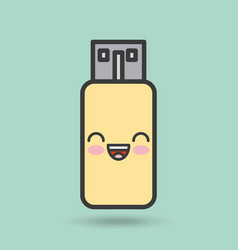 Usb memory character kawaii style vector
