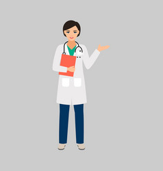 Female character of phlebologist vector