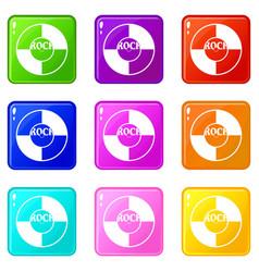 Vinyl icons 9 set vector