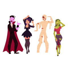 People in halloween party costumes - witch zombie vector