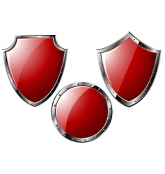 set of red steel shields vector image