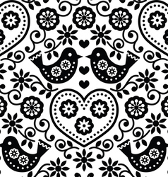 Folk art seamless monochrome pattern with flowers vector