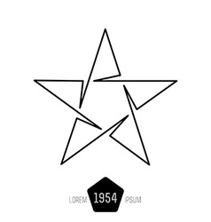 Minimal monochrome vintage star made of thin lines vector