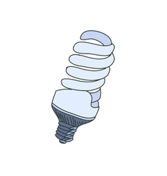 Colored doodle energy saving light bulb vector
