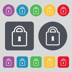 Lock icon sign a set of 12 colored buttons flat vector