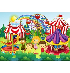 Children having fun in the circus vector