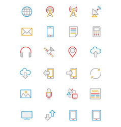 Communication colored outline icons 1 vector