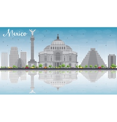Mexico skyline with grey landmarks and blue sky vector