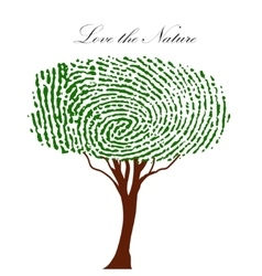 Heart green tree with finger prints eps vector