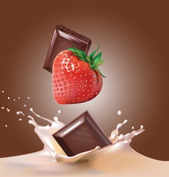 Milk and chocolate strawberries vector