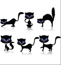Black cat cartoon collection vector