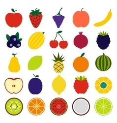 Fruits flat icons vector
