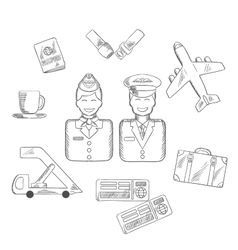 Air traveling and aviation icons set vector