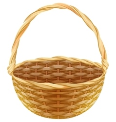 Empty wicker basket wicker basket made of straw vector