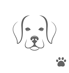 Labrador dog puppy with paw print vector