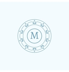 The letter m flourishes calligraphic monogram vector